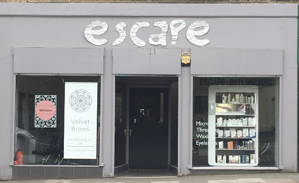 Shop facade for Escape Hairdressing
