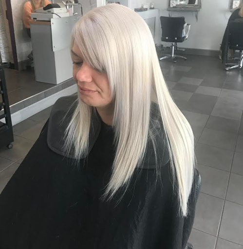 Straight hair dyed platinum blonde