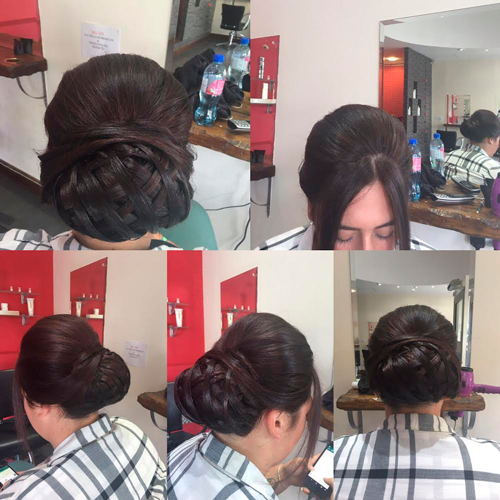 Plaited bun with front bangs