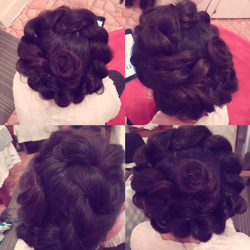 Hairup with curls and swirls